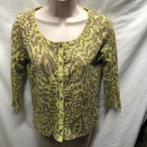 Sigrid Olsen Womens Sz S Button Up Sweater 3/4 Sle